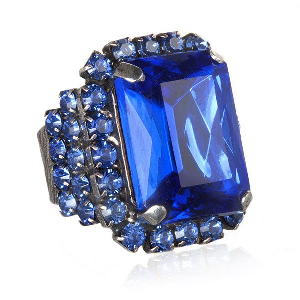 Frangos Small Crystal Cocktail Ring, Blue (£79) ❤ liked on Polyvore featuring jewelry, rings, accessories, blue, jewels, women, adjustable rings, blue ring, crystal jewelry and blue crystal ring