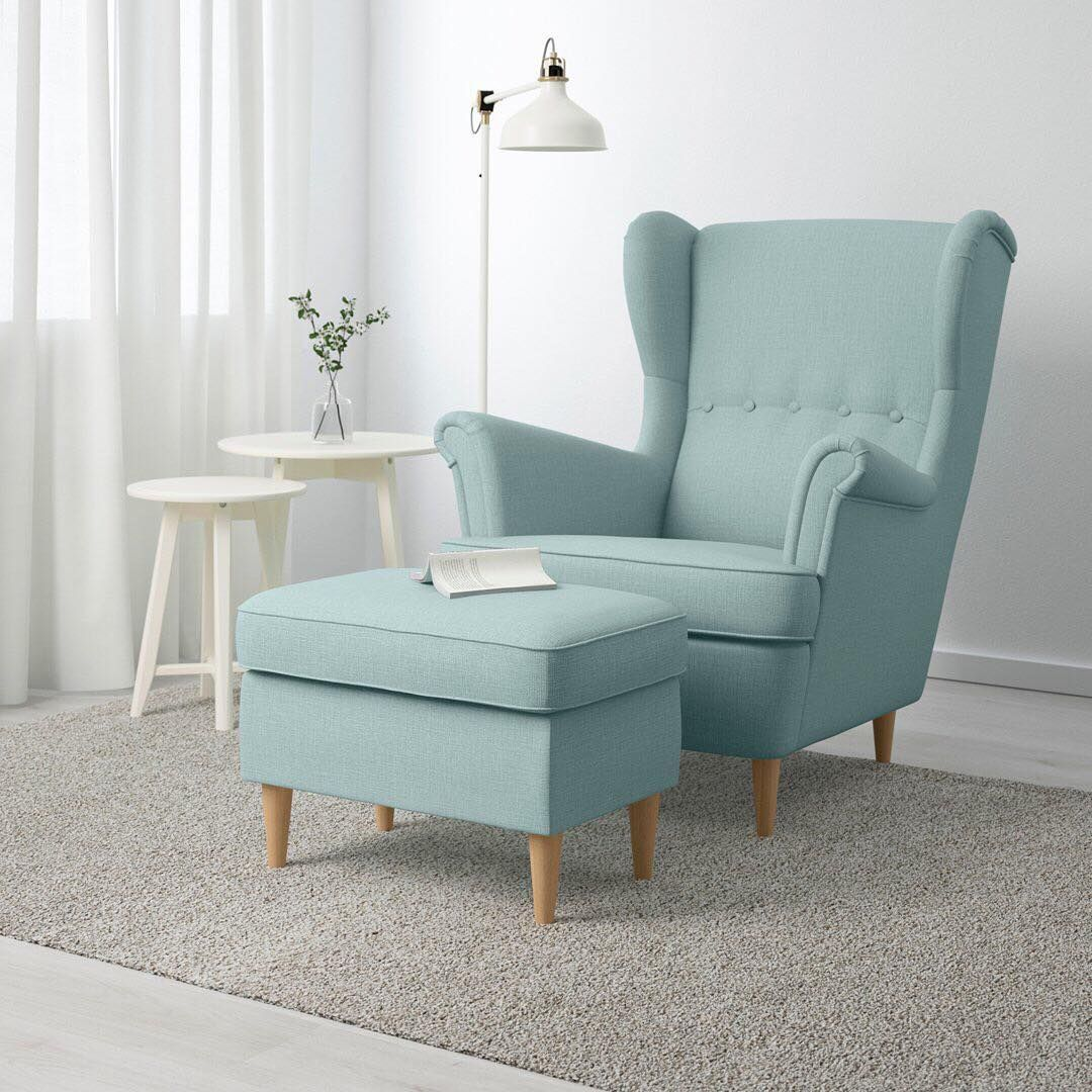 Bringing New Life To An Old Favorite The Ikea Strandmon Wing Chair Has The Same Craftsmanship Comfort And Appear Apartment Furniture Ikea Strandmon Furniture