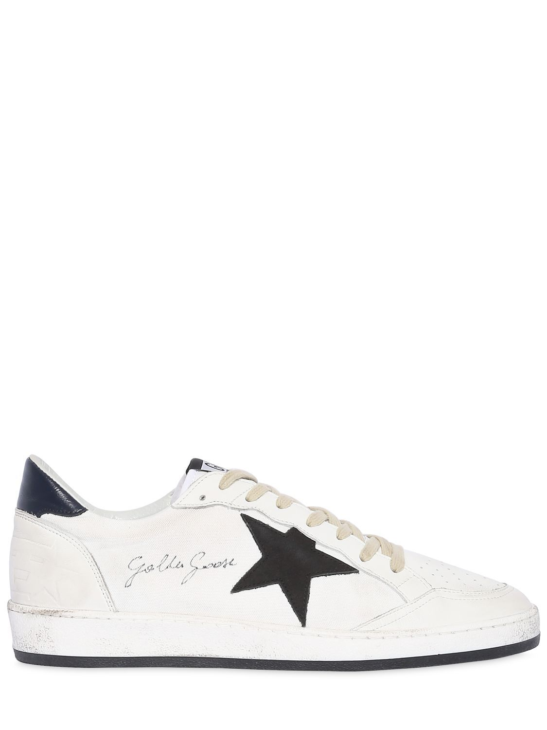 7f44f469bb7f GOLDEN GOOSE BALL STAR LEATHER   CANVAS SNEAKERS.  goldengoose  shoes