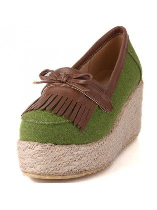Green Suede Paned Platforms with Tassel