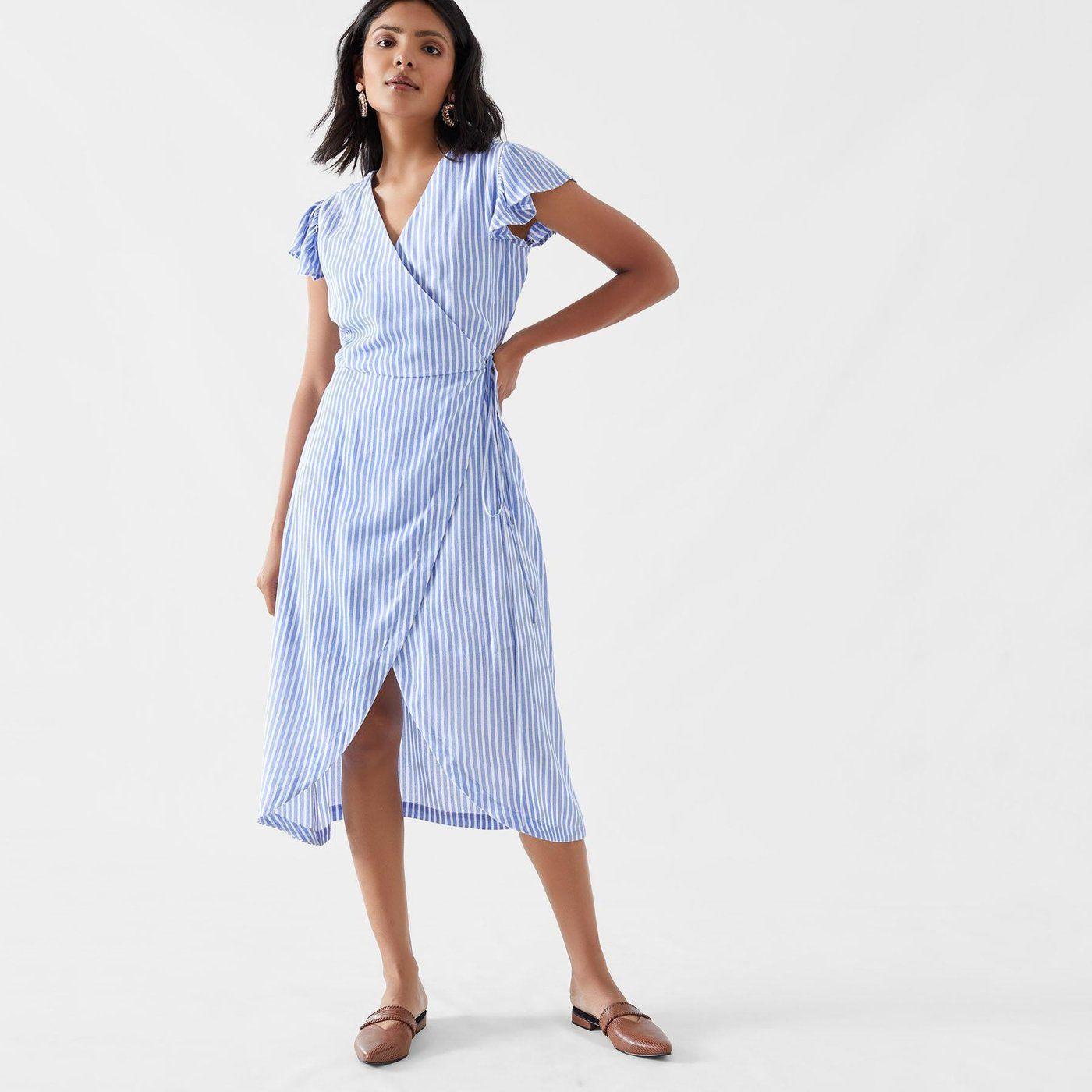 Ocean Striped Wrap Dress Wrap Dress Dresses Blue Striped Dress [ 1400 x 1400 Pixel ]