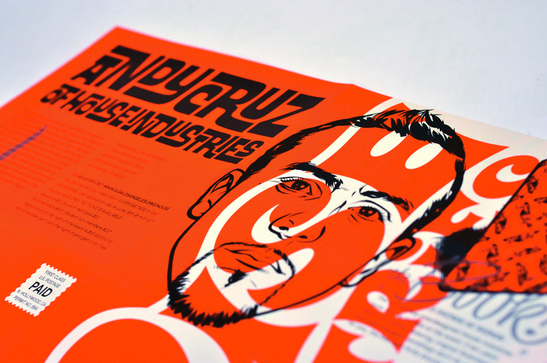 Andy Cruz AIGA/LA House Industries Poster 80 lb Uncoated Smooth White Text  3/3 3 PMS Trim & Fold