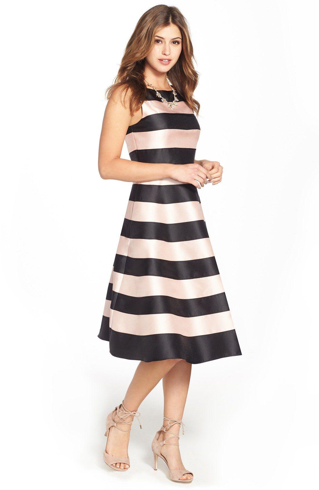 Blush pink and black stripe party dress Dresses, Striped