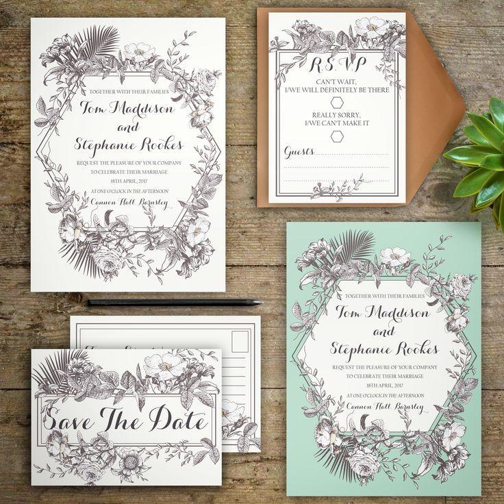 NEW Personalised Beautiful Botanical Wedding Invitations and