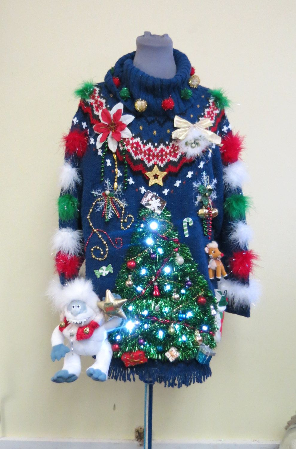 3bb873e35097 Festive Christmas Tree w  Lights Abominable Snowman Rudolph Tacky Ugly  Christmas Sweater Mini Dress size M Lights Womens - pinned by pin4etsy.com