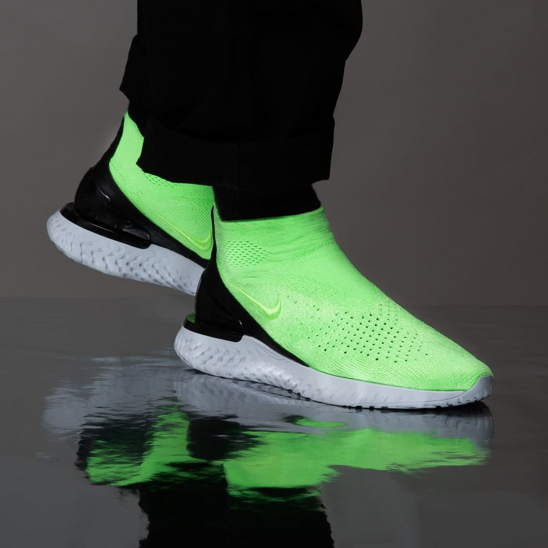 lowest price f886d 9eed2 Nike Rise React Flyknit in Lime Blast.⠀ Releas