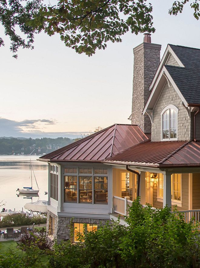 Shingle Home With Copper Roof Notice The Copper Roofing Beautifully Contrasting With The Grey Shingles And Natu Lake Houses Exterior Lake House House Exterior