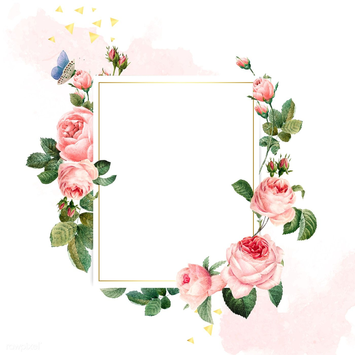 Blank rectangle pink roses frame on pink and white