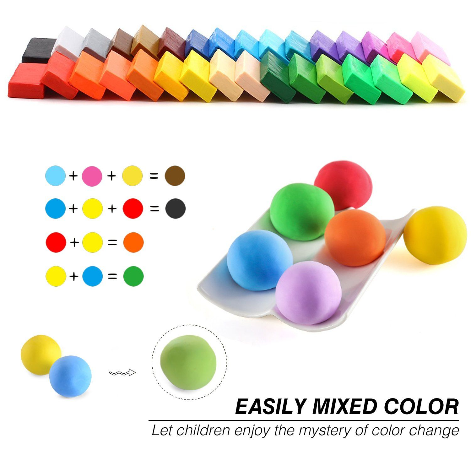 Polymer Clay Kit 32 Blocks Oven Bake Molding For Kids DIY Soft Colors Air Dry Se