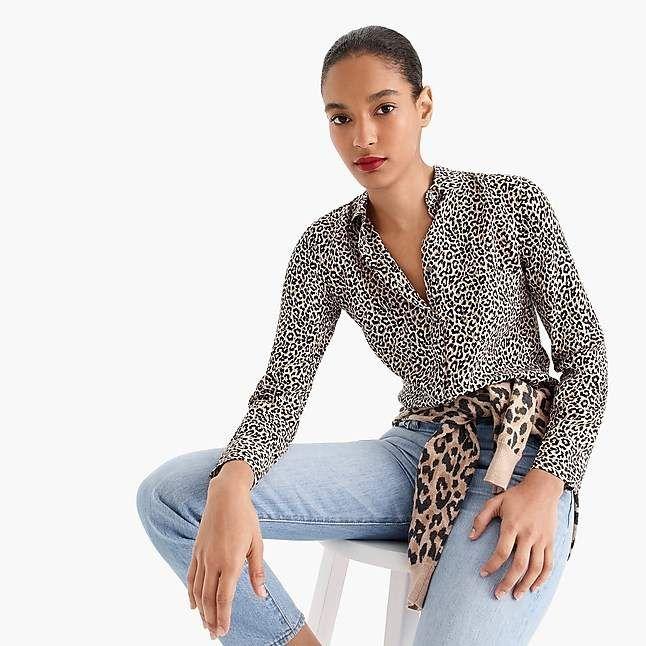 1761c61bc2130 J.Crew Silk button-up shirt in leopard print