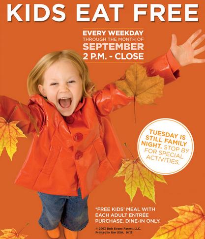 BOB EVANS $$ Kids Eat FREE Every Weekday In September!