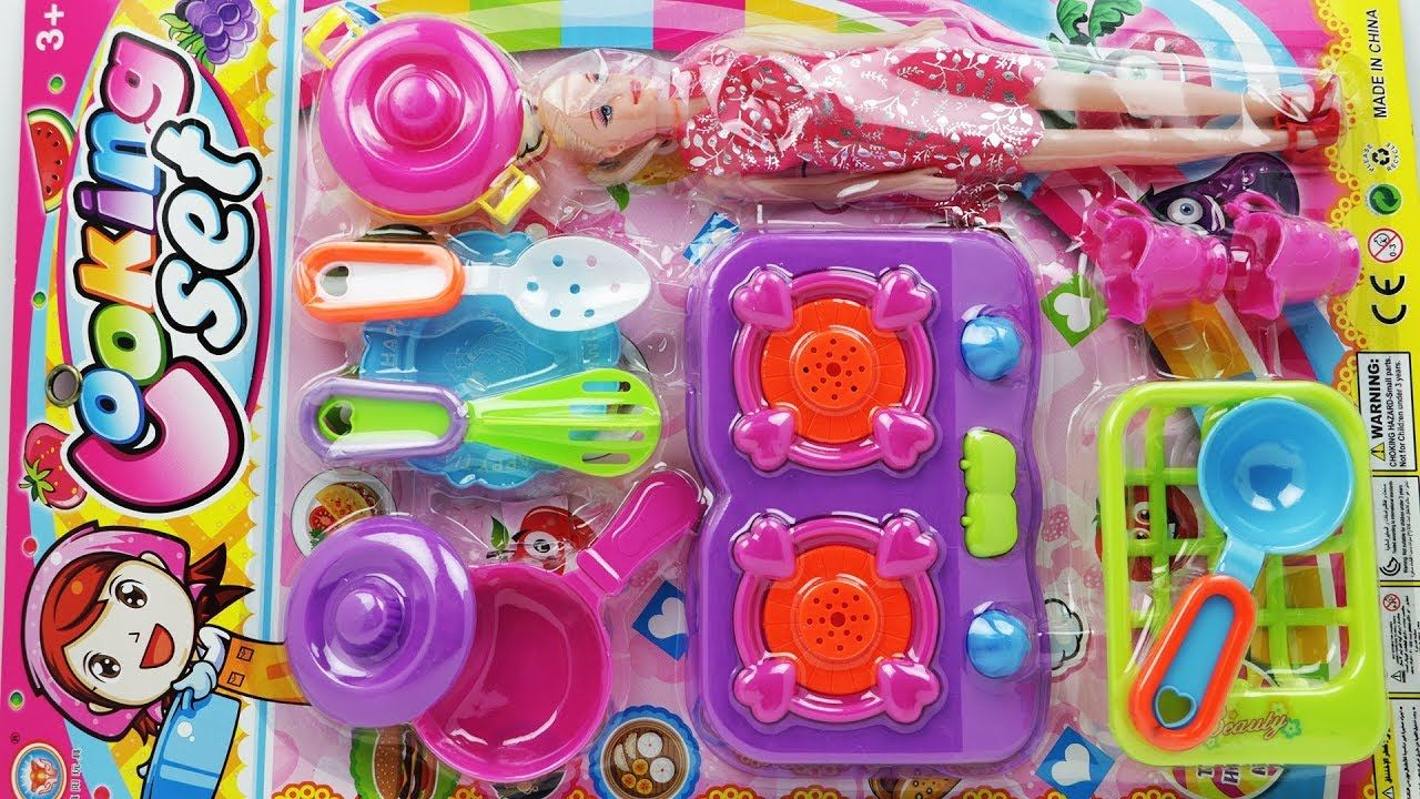 Funny Toys Cooking Kitchen Set Unpacking With Baby Doll Funny Toys Baby Dolls Kitchen Sets