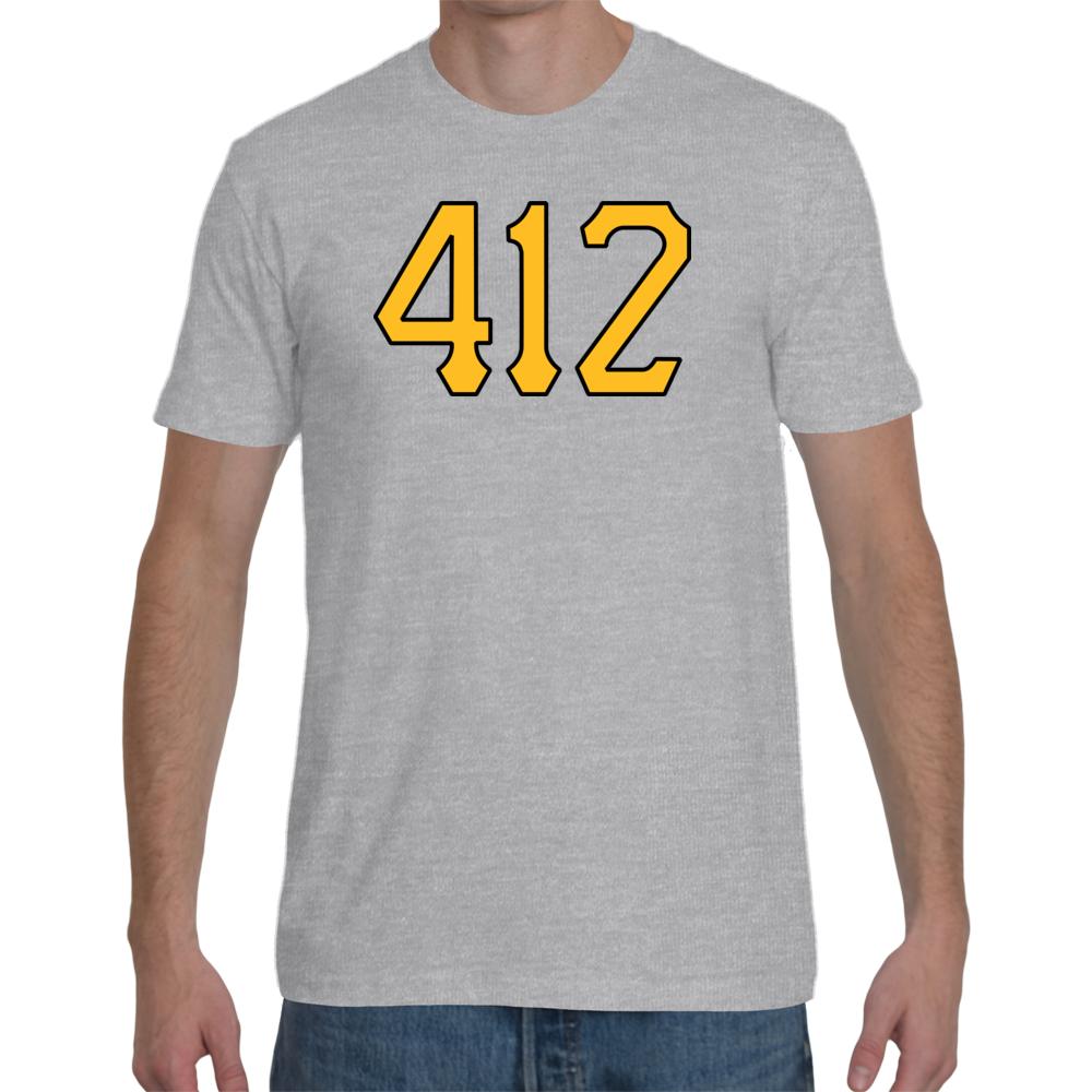Pittsburgh 412 Area Code Shirt | Pittsburgh Steelers Shirt | Pittsburgh Penguins Shirt | Pittsburgh Pirates Shirt | Pitt Panthers Shirt | Pittsburgh Sports Shirt (Heather Grey)