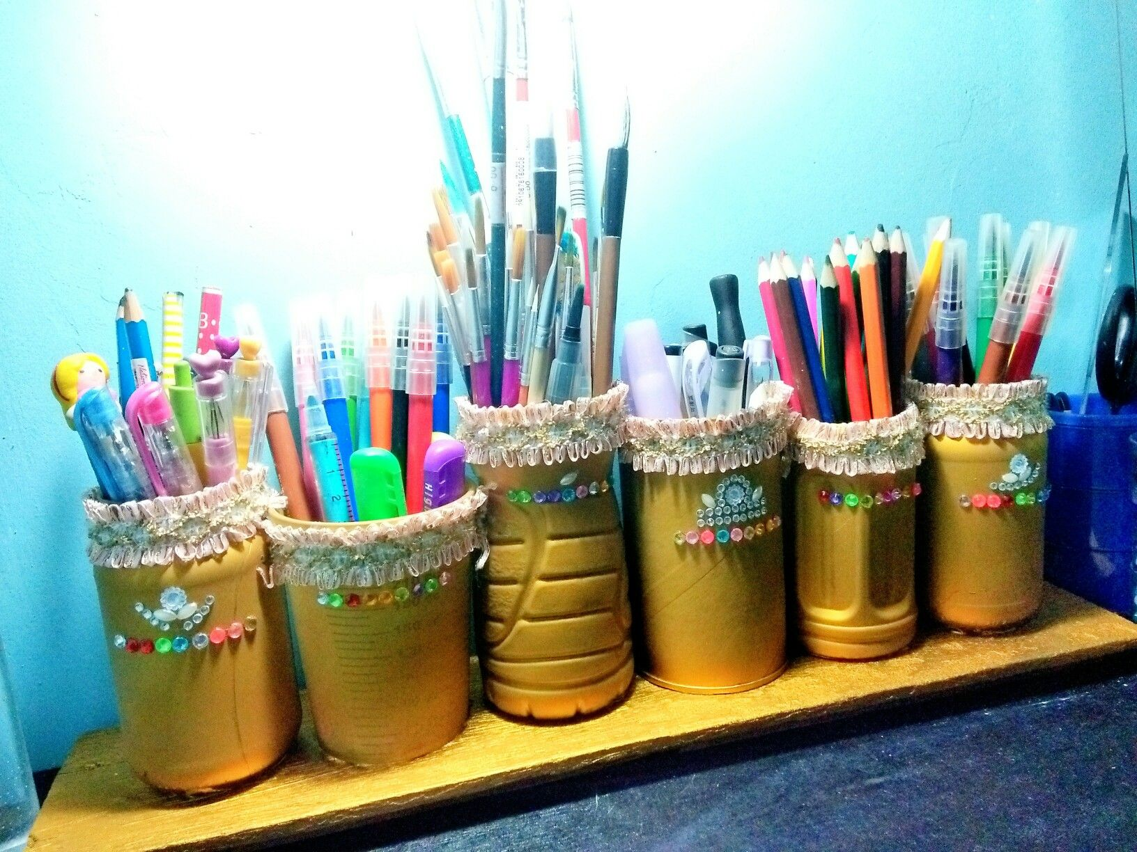 Recycled Bottles As Pen Organizers