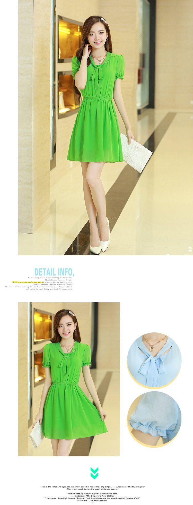 Chiffon Dresses : Gathered Waist Short Sleeve Chiffon Dress YRB0504