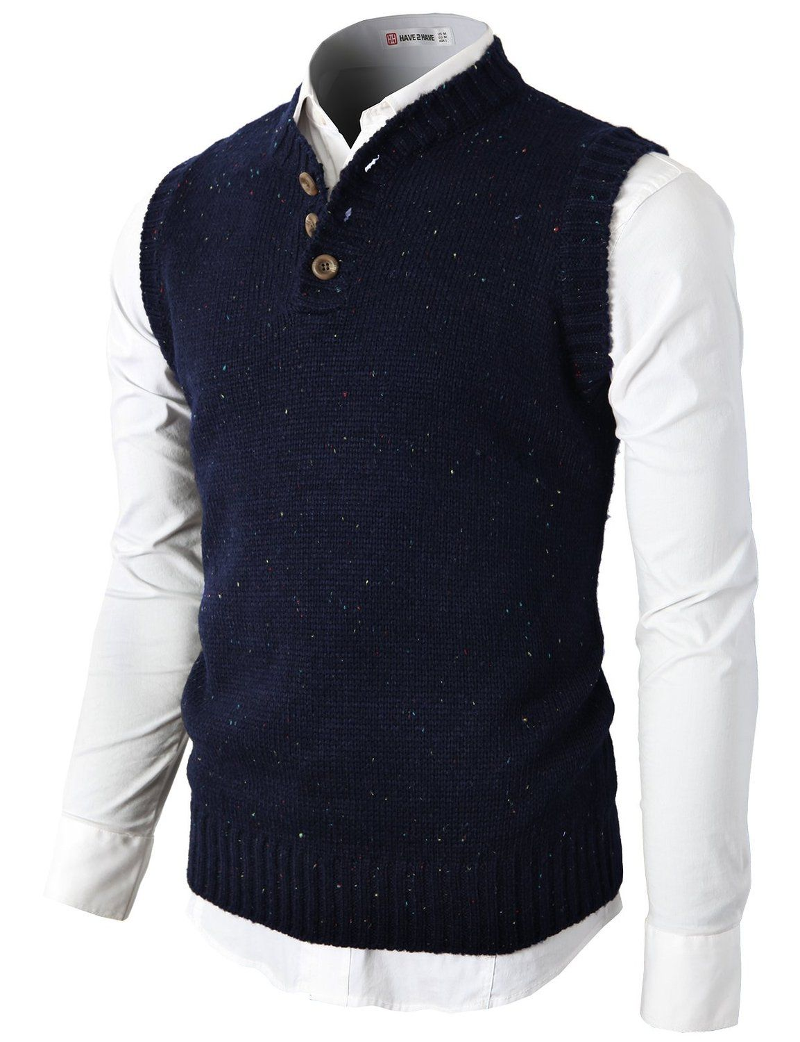H2H Mens Knitted Sweater Vest With Two Button On The Neckline ...
