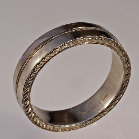 Man's Wedding Band VINTAGE STYLE ENGRAVING In 14k White Or