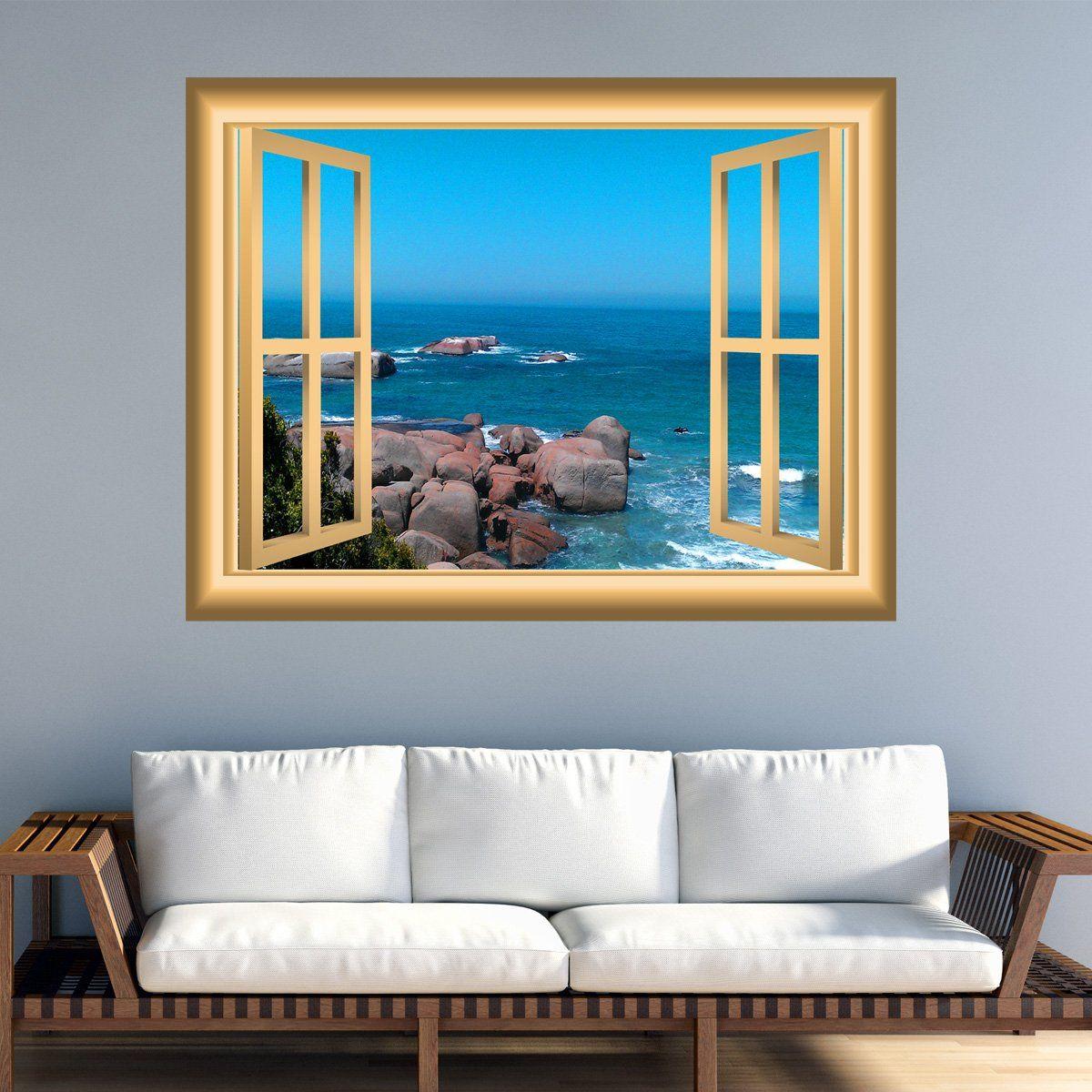 Vwaq Rocky Beach Peel And Stick Ocean Scene Window Frame Wall Art