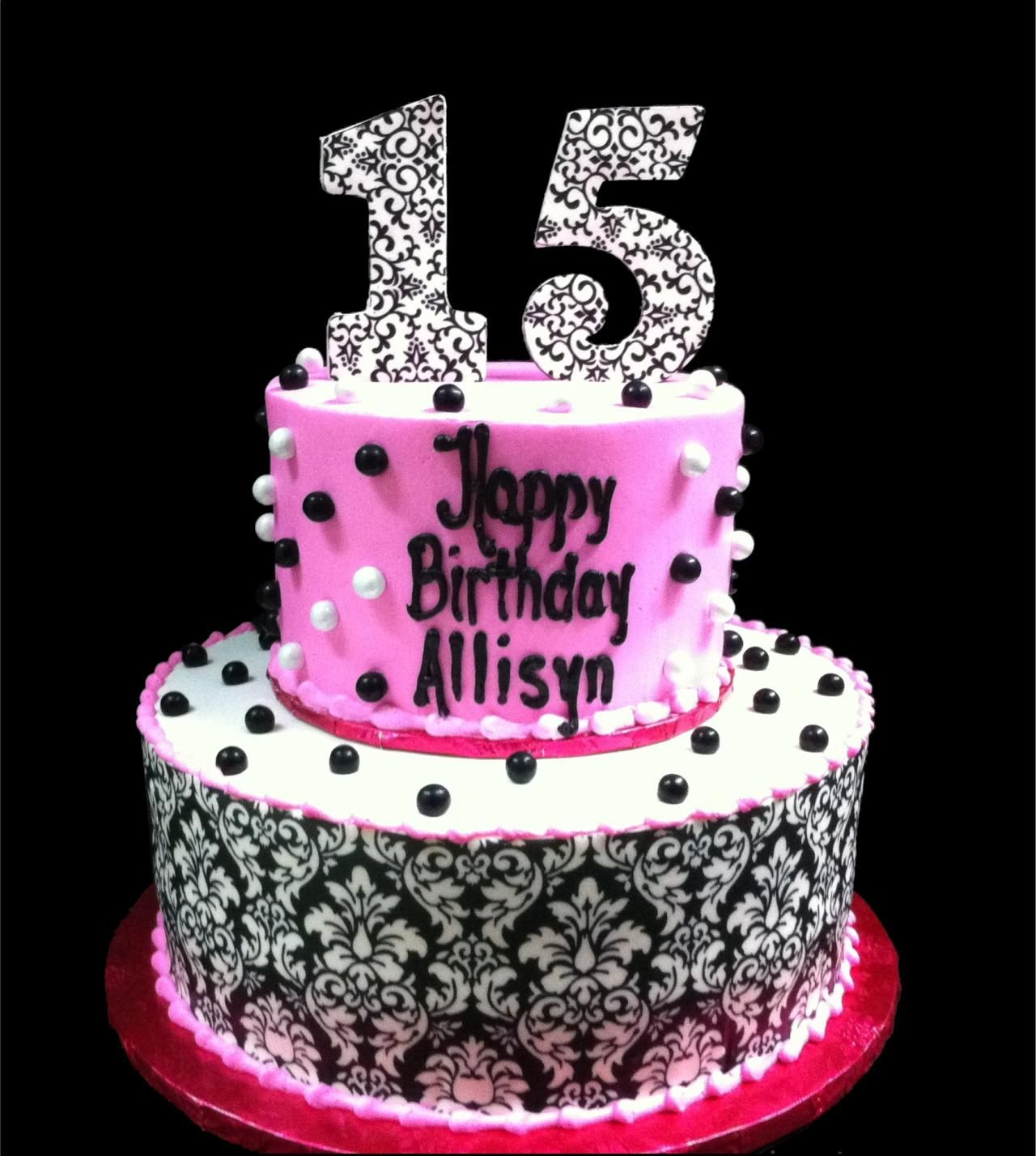 Th Damask Pearl Birthday Cake White And Pink Buttercream Iced - 15 year birthday cake