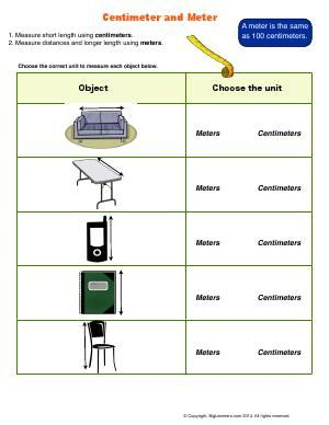 Worksheet | Centimeter and Meter | Choose the correct unit to ...