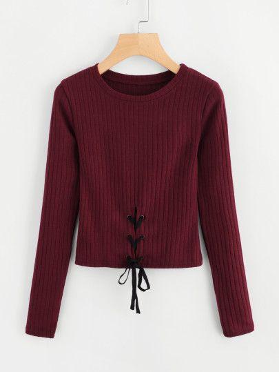 Eyelet Lace Up Knit SweaterFor Women-romwe
