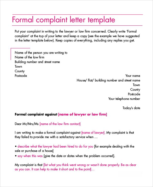 Claim Letter Sample Formal Letters Complaint Free Word Pdf Documents