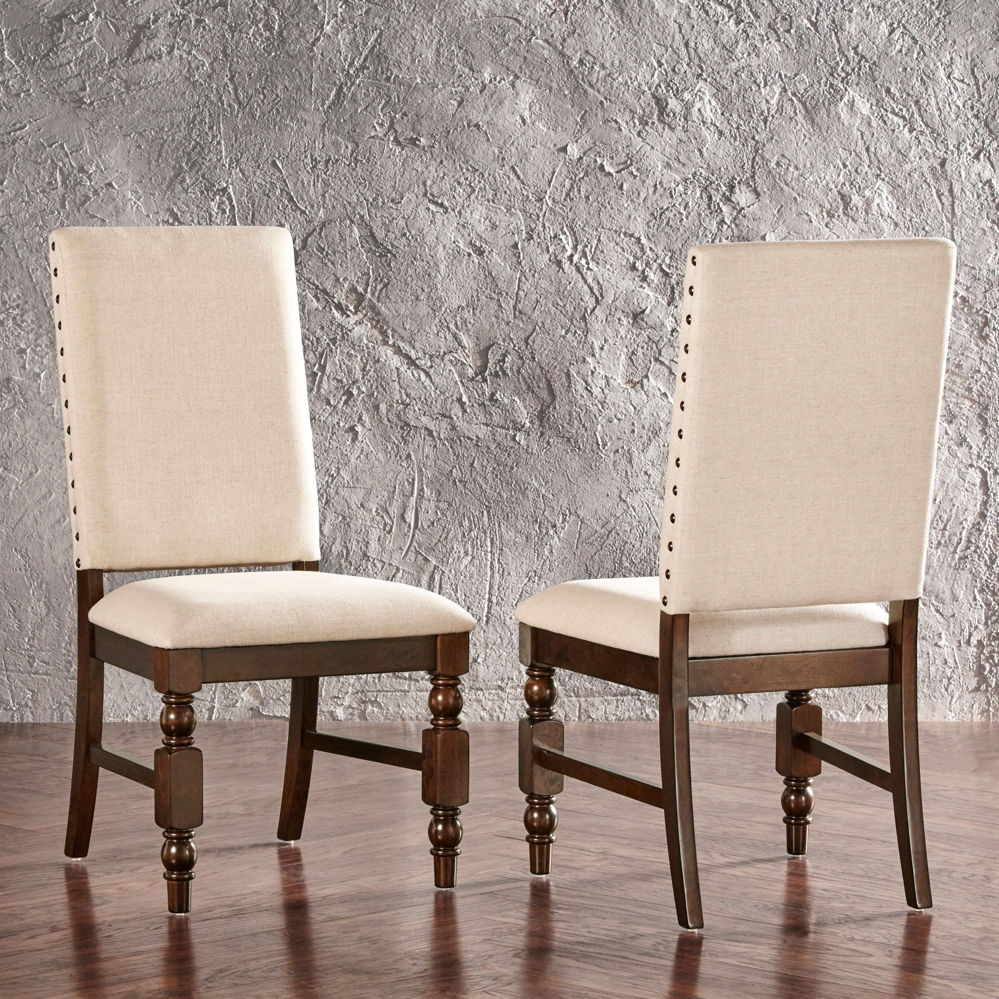Flatiron Nailhead Upholstered Dining Chairs (Set of 2) by iNSPIRE Q Classic  (Beige