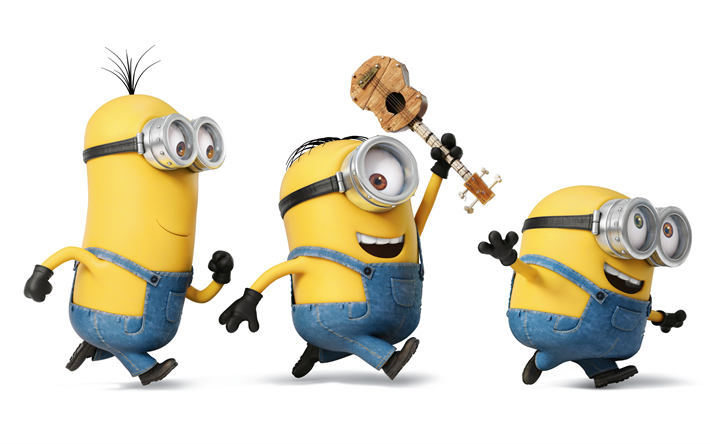 Download wallpapers 4k, Minions, guitar, Bob, Stewart