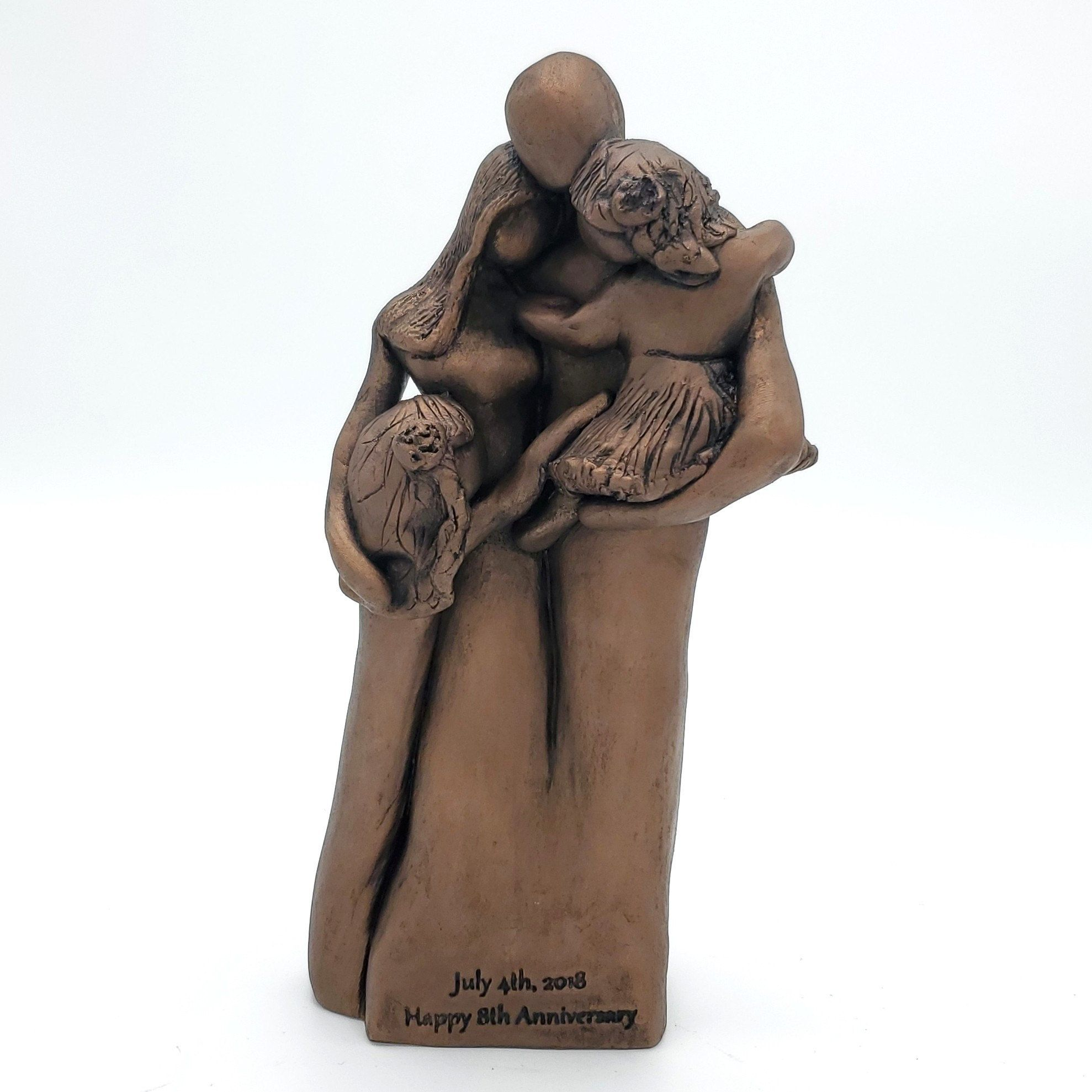8th anniversary family of four portrait bronze
