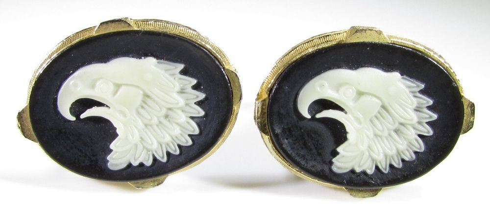 Gold Tone Cufflinks with Eagle Cameo