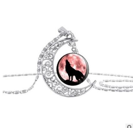 Red Women Fashion Wolf Moon Pendant Necklace Glass Cabochon Silver Statement Chain Necklace Women Jewelry womens best gift-in Pendant Necklaces from Jewelry & Accessories on Aliexpress.com | Alibaba Group