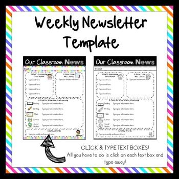 Editable Classroom Newsletter Templates  Simple Neon Brights