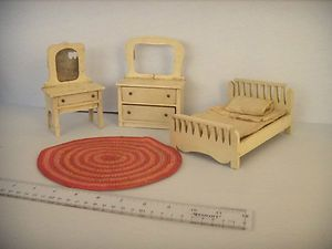 Late 19th Early 20th Antique Wooden Doll House Bedroom Set Early Rug Accessor | eBay