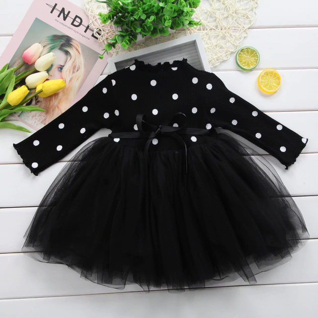 Bow Dot Tutu Ball Gown Party Dresses Baby Kid Girl clothes