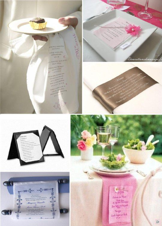 idees menu mariage tissu pochette ruban porte carte. Black Bedroom Furniture Sets. Home Design Ideas