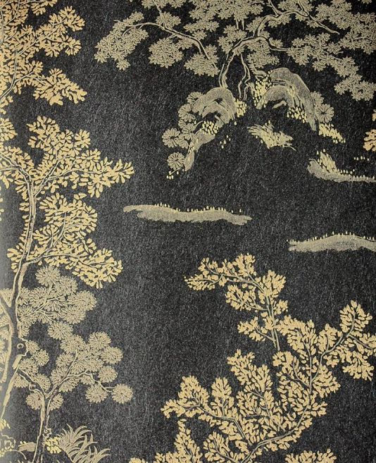 Oriental tree wallpaper from gp j baker black and gold