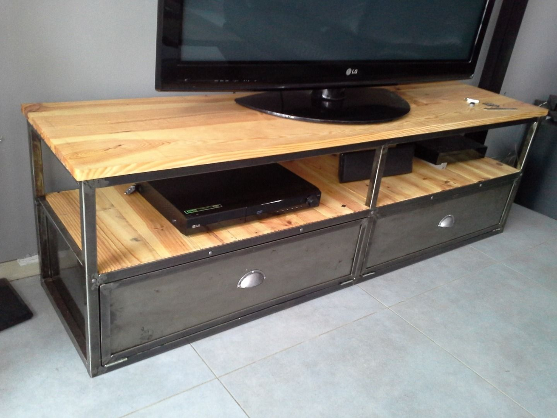 meuble industriel tv mtal bois dor - Meuble Tv Bois Et Fer Design