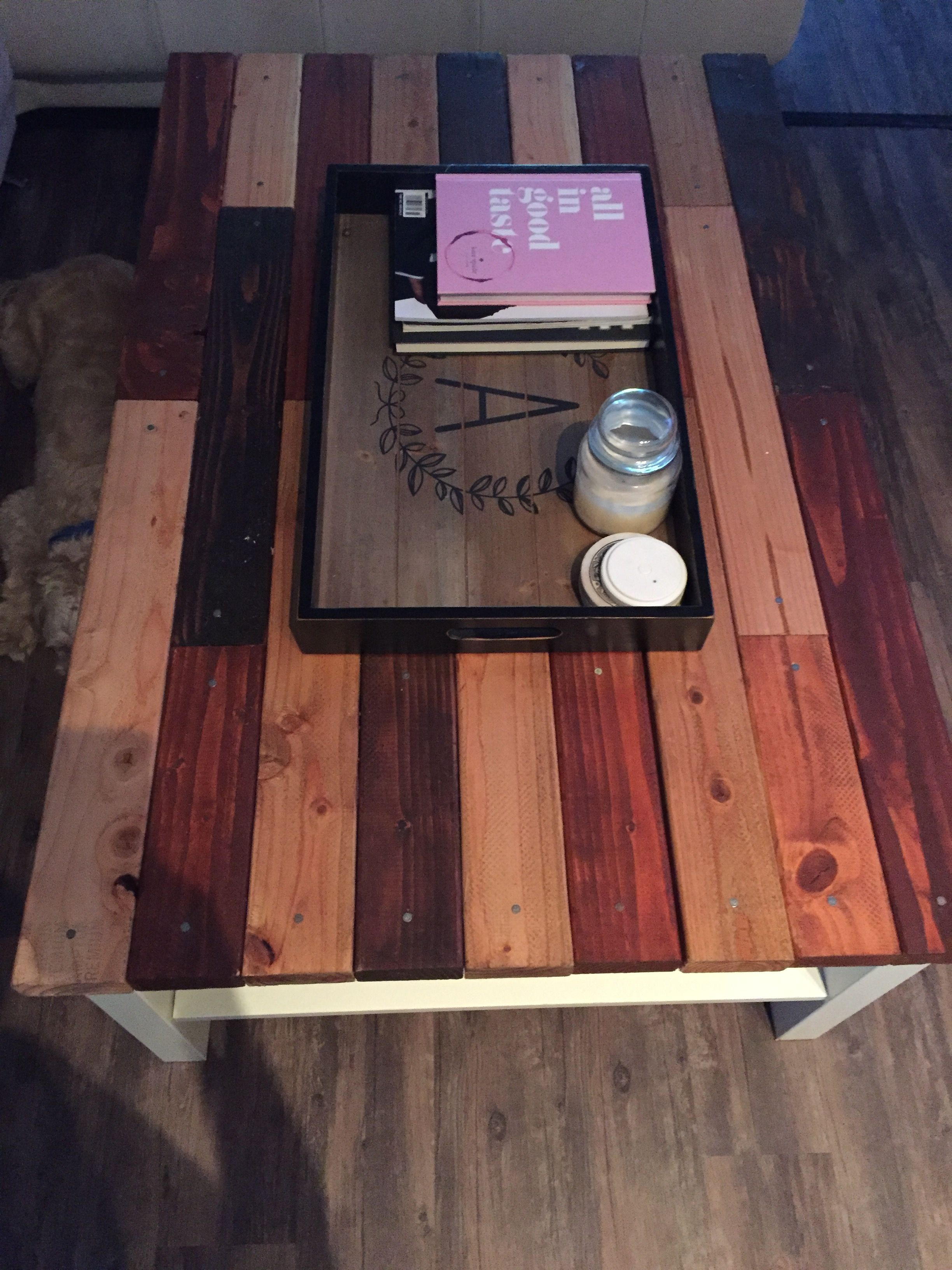 Ikea table face-lift!     All we needed was wood glue, a