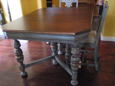 Very close to my dining room table... refinished in gray with walnut top  and antique gold accents. - Very Close To My Dining Room Table... Refinished In Gray With Walnut
