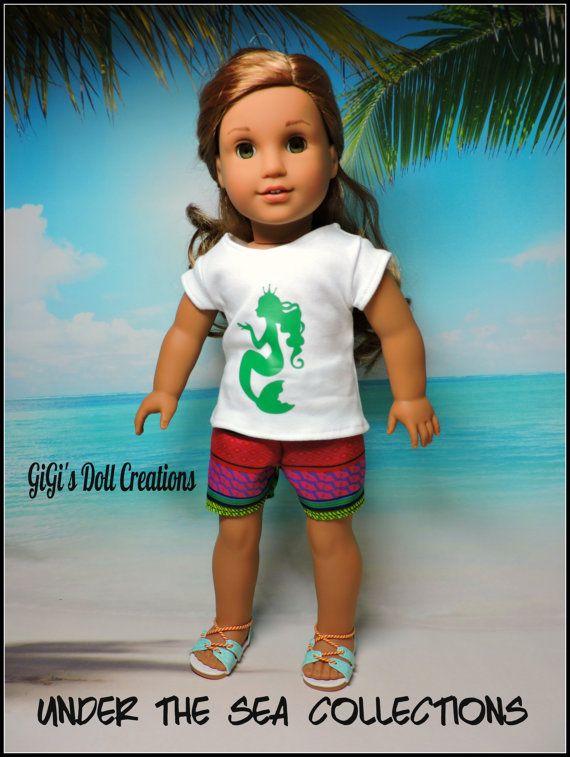Green /& White Shorts Set fits American Girl Doll