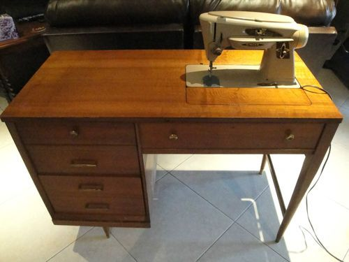 Fab Midcentury Sewing Desk Vintage Singer Slant O Matic 503 Machine With Cabinet