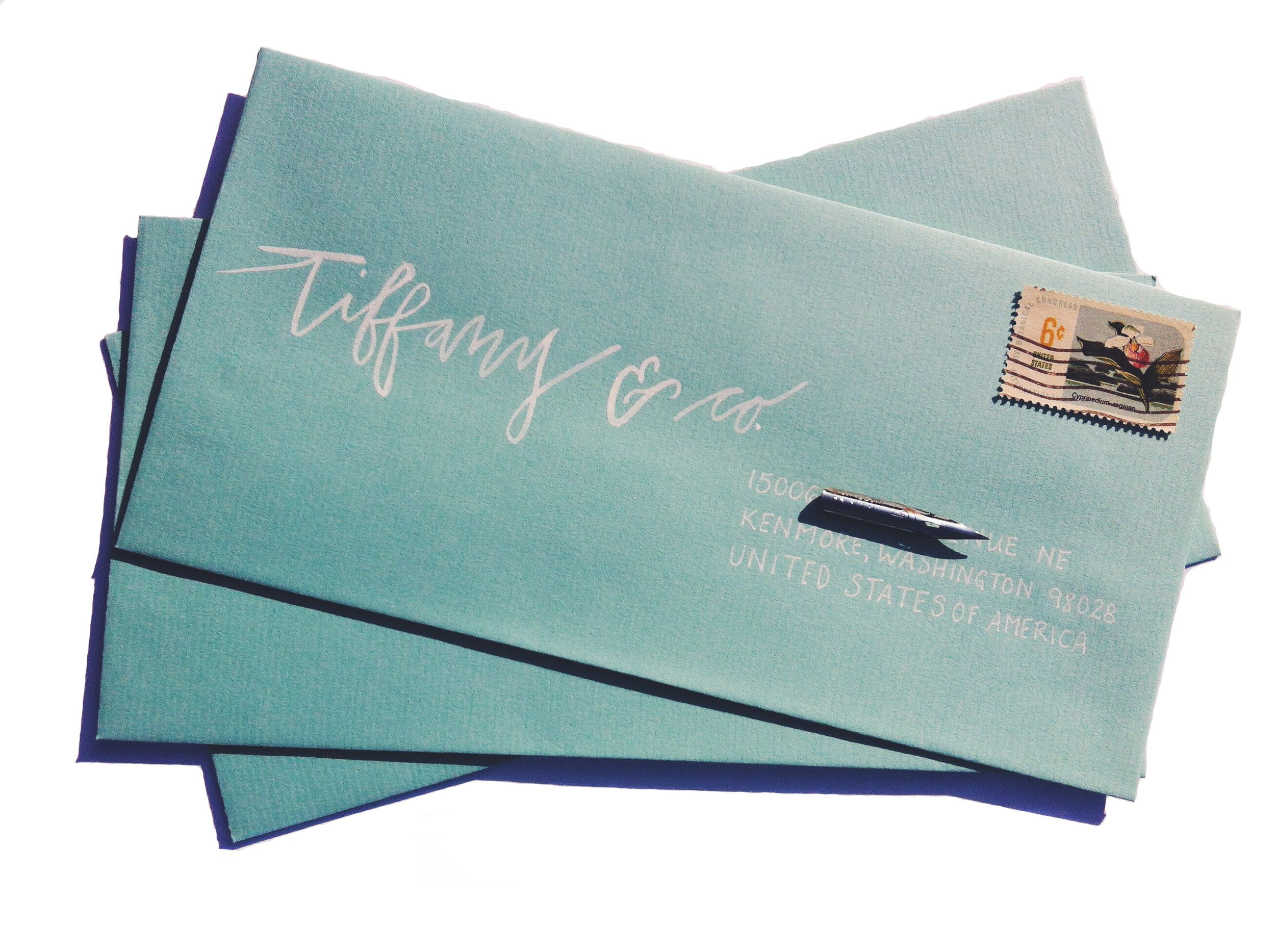 Modern watercolor calligraphy wedding envelope addressing