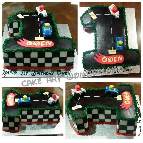 A race car themed Number 1 Birthday Cake for Owen Carved from