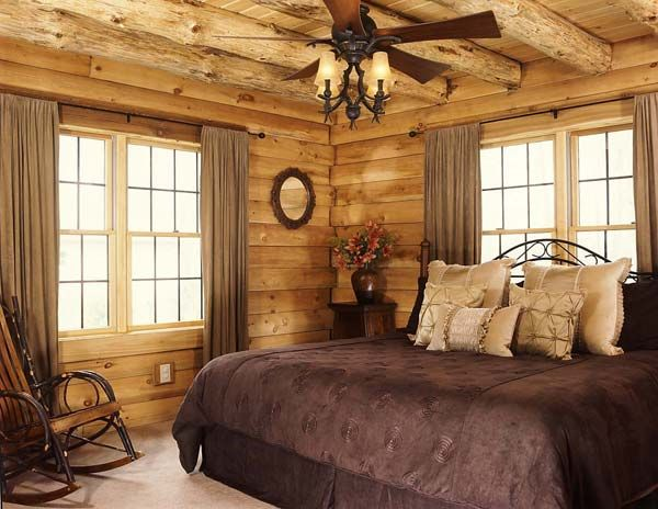 Love At First Sight Planning A Classic Log Cabin Log Home Bedroom Log Home Interiors Cabin Bedroom