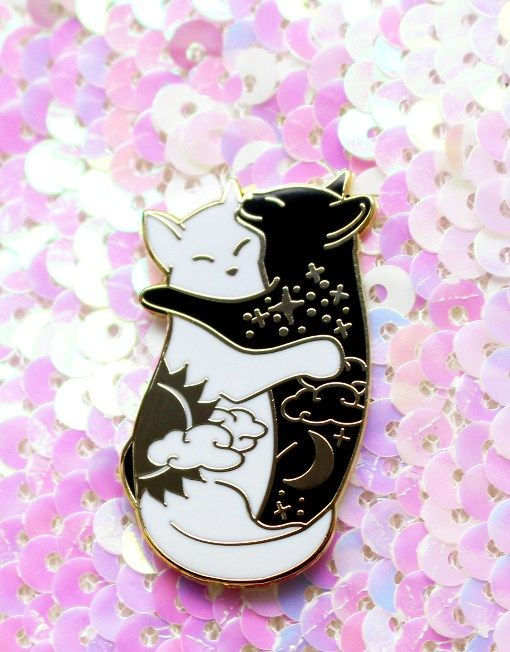 Day & Night Hugging Cat Enamel Pins