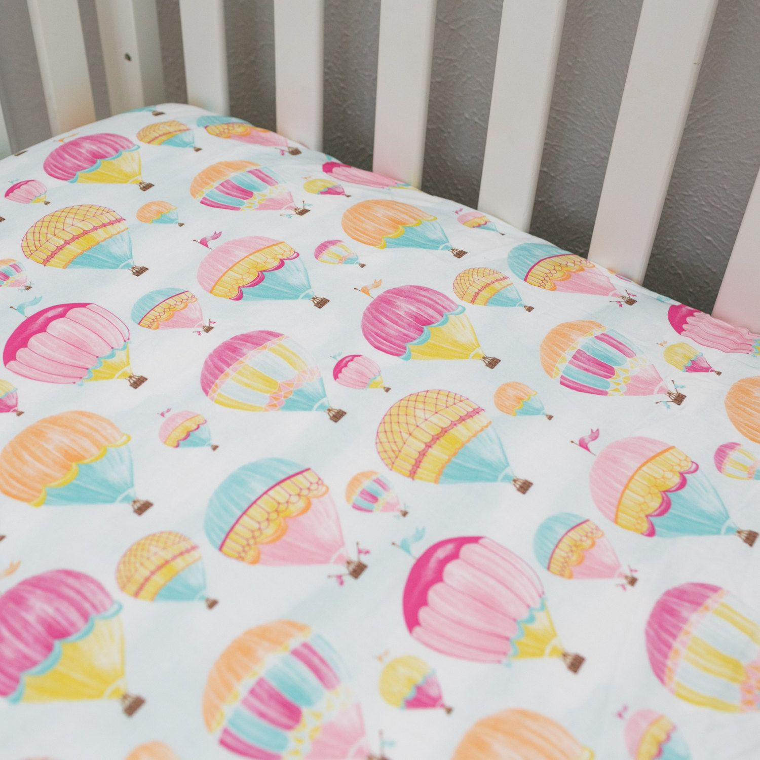 Hot Air Balloon Fitted Crib Sheet/Changing Pad Cover by
