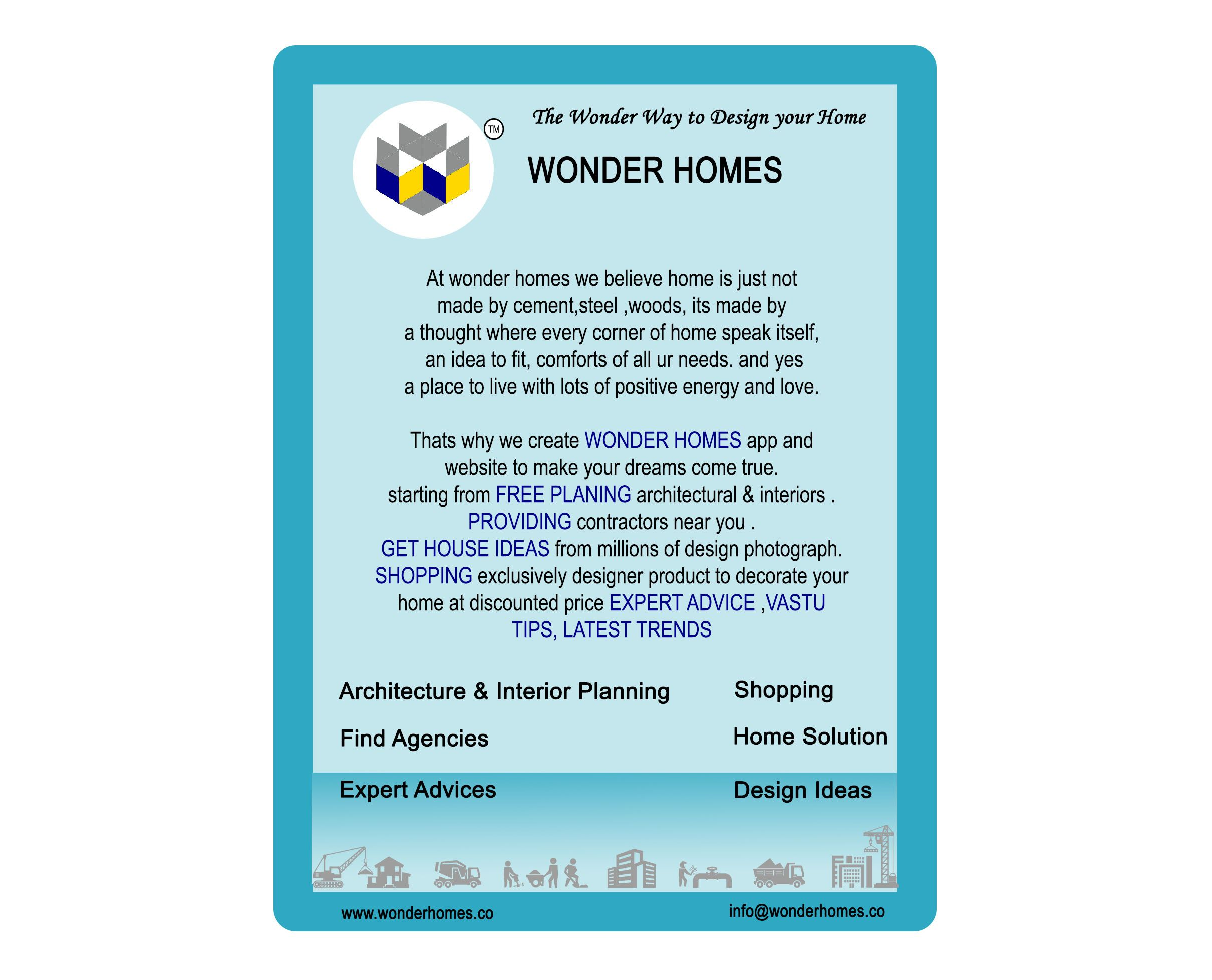 At wonder homes we believe home is just not made by cement,steel woods,
