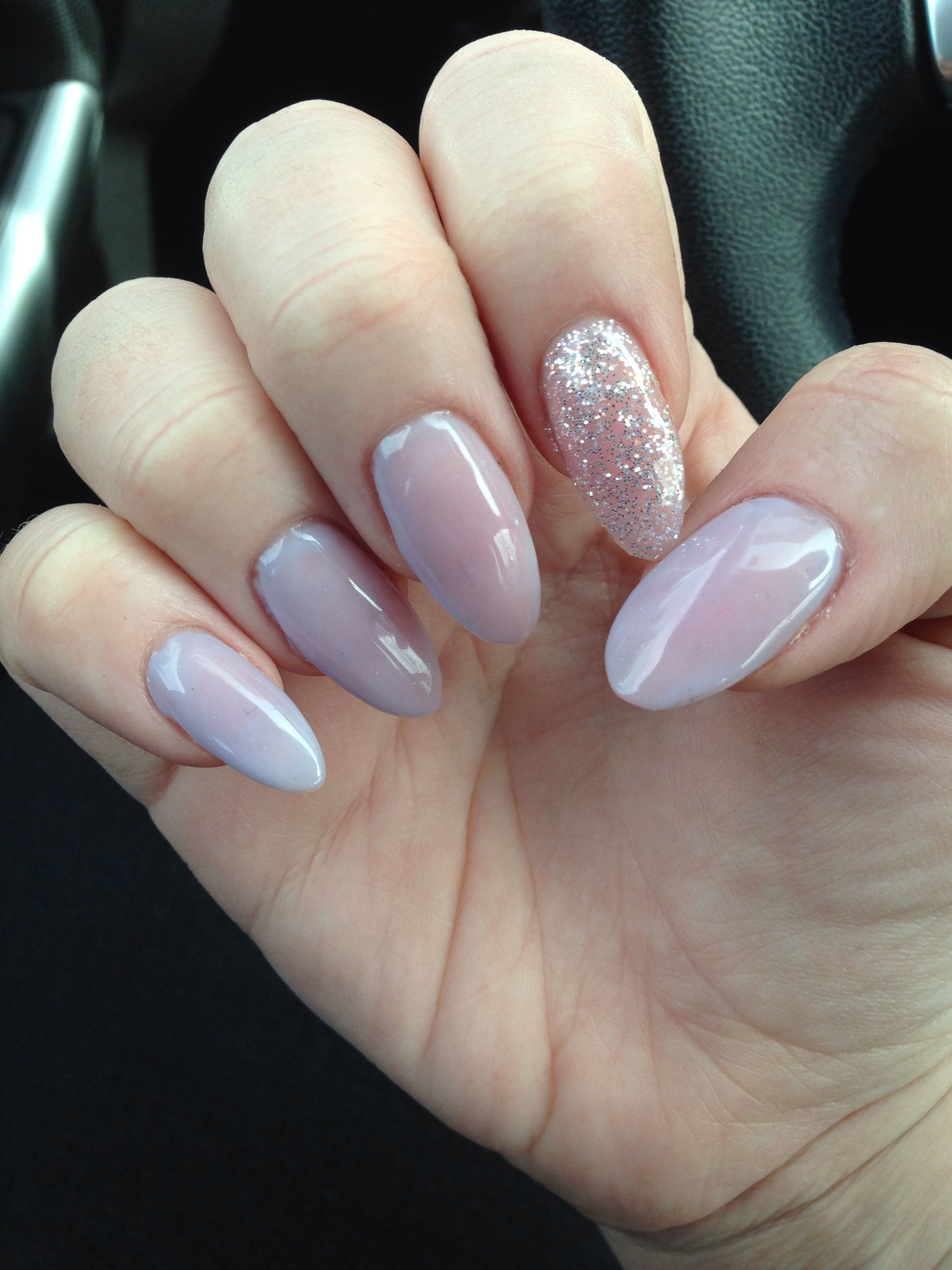 Pale Lavender Almond Gel Nails With Glitter Accent Nail My Nails
