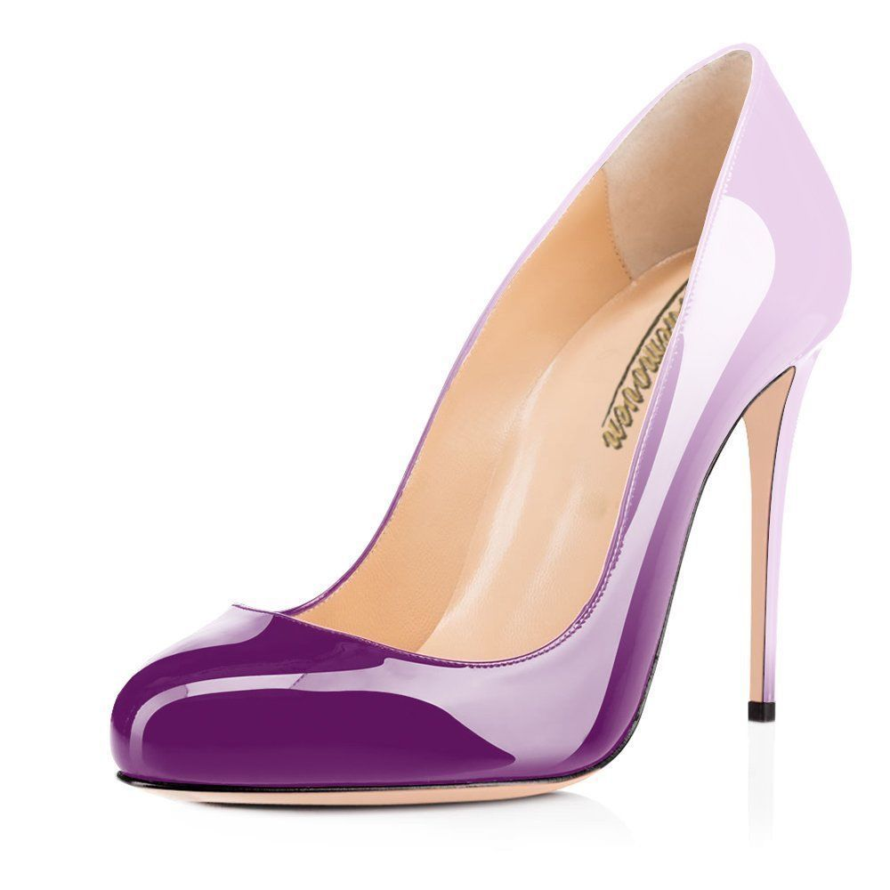 Purple dress with shoes  Details about Women Purple Changed Round Toe High Heels Stileto