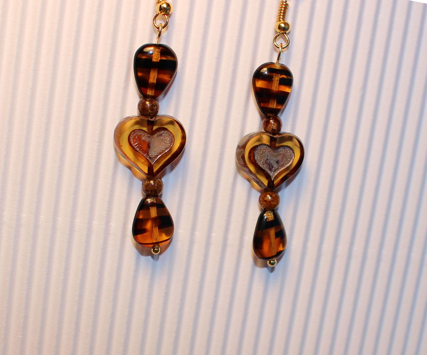 Picasso Heart Tiger Eye Earrings by BeverlyJaneCreations on Etsy
